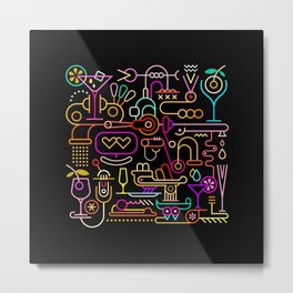 Cocktail Mixing Metal Print