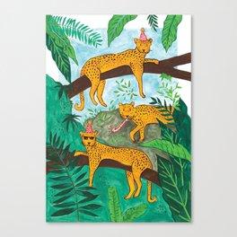 Party Leopards Canvas Print