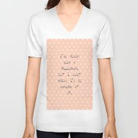 calendars V-neck T-shirts featuring I've never been a millionaire ~ Polka Dots ~  poster ~ typography ~ illistration by Shabby Design Studio