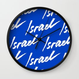 Israel. Abstract vector card with Israel watercolor lettering. Wall Clock