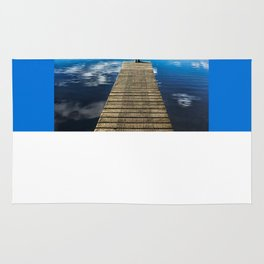 Crystal Blue Lake Pier and Person Swimming Rug