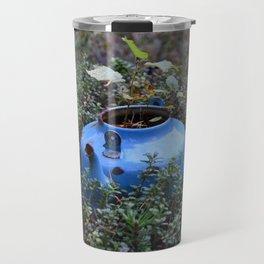 Blue teapot in the grass. Travel Mug