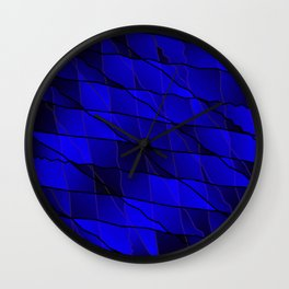 Mirrored gradient shards of curved blue intersecting ribbons and horizontal lines. Wall Clock