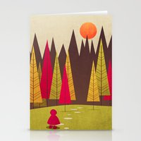 red riding hood Stationery Cards featuring Little Red Riding Hood by Annisa Tiara Utami