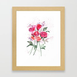 Abstract Watercolor Red Roses Framed Art Print