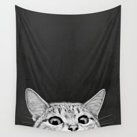 cats Wall Tapestries featuring You asleep yet? by Laura Graves