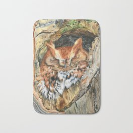Woodland Screech by Teresa Thompson Bath Mat
