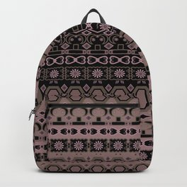 Colorful pink brown ethnic ornament. Backpack