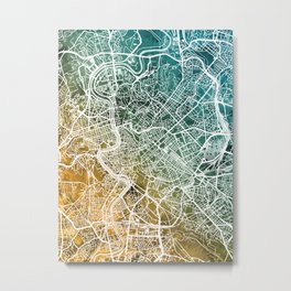 Rome Italy City Map Metal Print