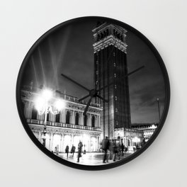 Piazzetta San Marco at night with campanile bell tower Wall Clock