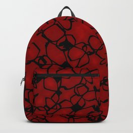 Chaotic bubbly scarlet thread of spherical molecules on dark glass.  Backpack