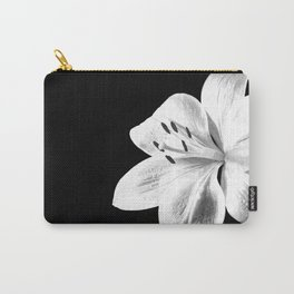 White Lily Black Background Carry-All Pouch