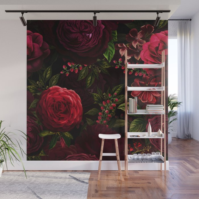 Mystical Night Roses Wall Mural
