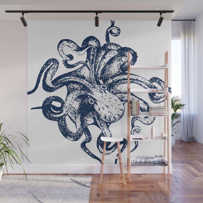 Octopus Nautical Navy And White Wall Mural By Meganmorrisart Society6