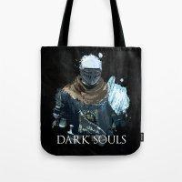 dark souls Tote Bags featuring Dark Souls Knight Splatter by 666HUGHES