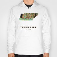 tennessee Hoodies featuring Tennessee state map modern by bri.buckley