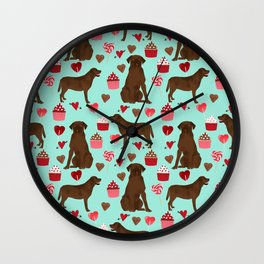 Chocolate Labrador Retriever valentines day cupcakes love hearts dog gifts labs Wall Clock