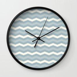 Chevron pattern grey blue and beige Wall Clock