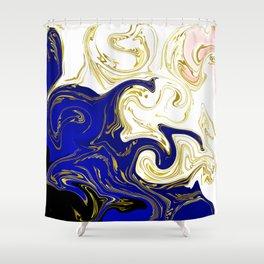 blue ,gold,rose,black,golden fractal, vibrations, circles modern pattern, Shower Curtain