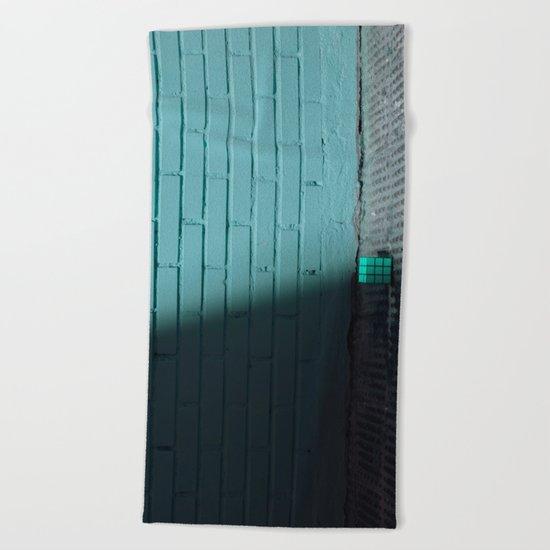 Blue and shady cube Beach Towel