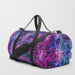 psychedelic abstract art pattern texture background in pink blue black Duffle Bag