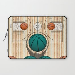 Colorful Green basketballs on a Basketball Court Laptop Sleeve