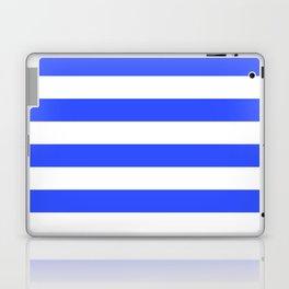 Even Horizontal Stripes, Blue and White, L Laptop & iPad Skin