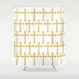 Golden Cross Pattern Shower Curtain