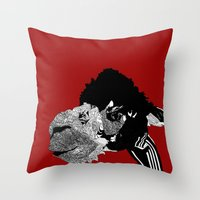 alpaca Throw Pillows featuring Alpaca by caseysplace