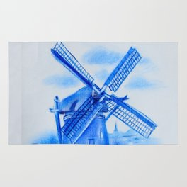 Drawing Delft-Style Windmill Rug