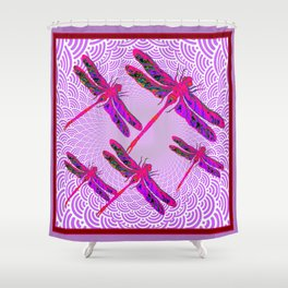 Red & Purple Flying Dragonflies Lilac Abstract Art Shower Curtain