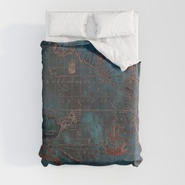 Antique Map Teal Blue and Copper Duvet Cover
