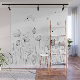 Floral with Lines and Dots Wall Mural