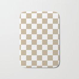 Checkered - White and Khaki Brown Bath Mat