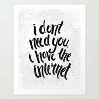 internet Art Prints featuring Internet by Alex McBain