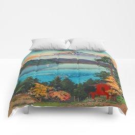 Tsuchiya Koitsu Vintage Japanese Woodblock Print Fall Autumn Mount Fuji Comforters