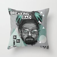breaking bad Throw Pillows featuring Breaking Bad by Sophie Bland
