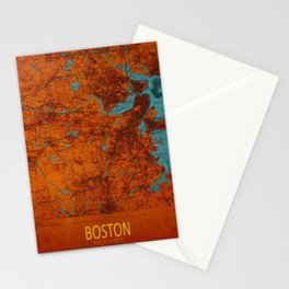 Boston 1893 old map, blue and orange artwork, cartography Stationery Cards