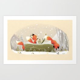 Little foxes Art Print