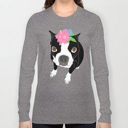 Boston Terrier Illustrated Print Long Sleeve T-shirt