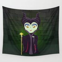maleficent Wall Tapestries featuring Maleficent by Loud & Quiet