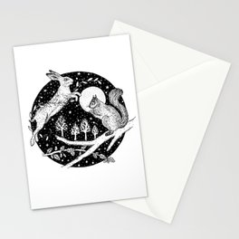 Jumping hare and squirrel, woodland Stationery Cards
