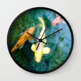 Zen Jewel Toned Koi Fish Turquoise Pond Water Photograph Wall Clock
