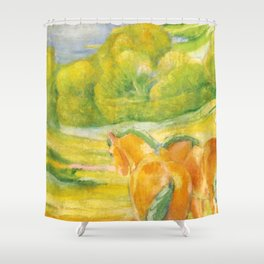 "Franz Marc ""Large Landscape I (Landschaft I)"" Shower Curtain"