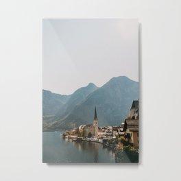 Village with lake and mountains Hallstatt, Europe   Austria   Travel photography   art photo print Metal Print
