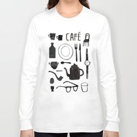 cafe Long Sleeve T-shirts featuring Cafe by The Printed Peanut