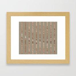 Rose gold stripes on natural grain Framed Art Print