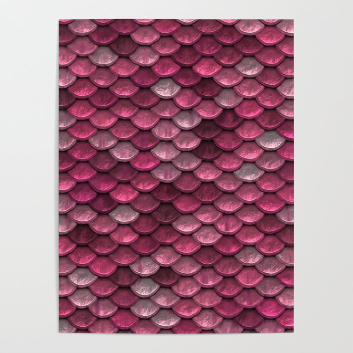 Pink Shiney Mermaid Scales Poster