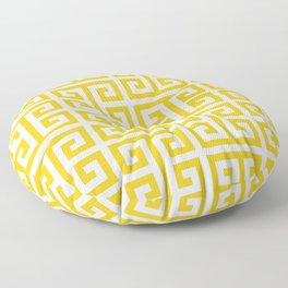 Large Gold and White Greek Key Pattern Floor Pillow