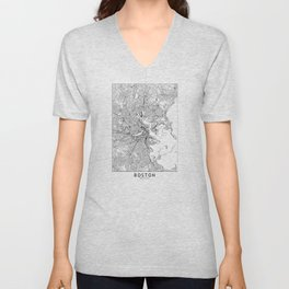 Boston White Map Unisex V-Neck
